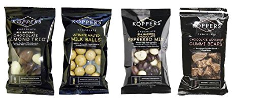 Koppers Chocolate Grab and Go 4 Flavor 8 Bag Sampler Bundle, (2) each: Almond Trio, Malted Milk Balls, Espresso Mix, Gummi Bears (2 Ounces) (Balls Milk Gourmet Malted)