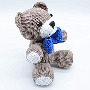 Bebé oso de peluche con corbata de lazo azul, juguete de peluche ...