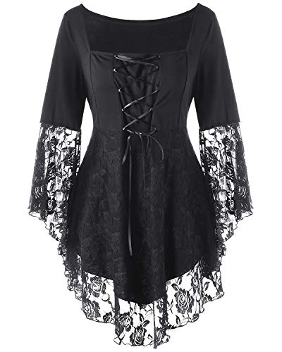 (KENANCY Women's Plus Size Tunics Tops Lace Long Sleeve Blouse Irregular Hem Casual T-Shirt Black 4XL)