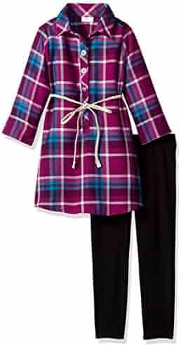 Youngland Girls' Shirt Dress Tunic with Belt and Legging