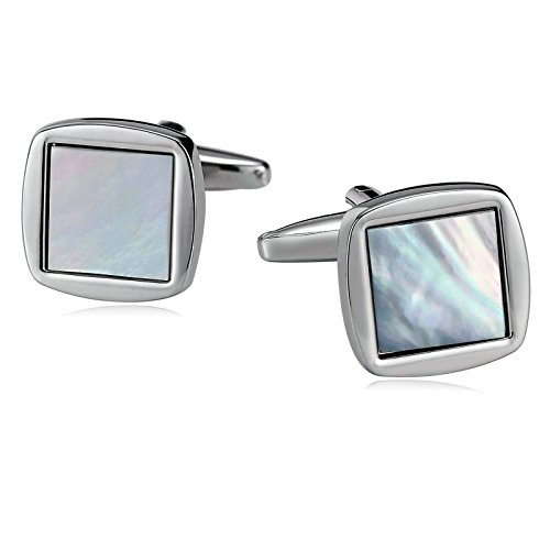 Aooaz Mens Stainless Steel Cufflinks Mother of Pearl Square White Business Wedding Shirt 1.5x1.5cm