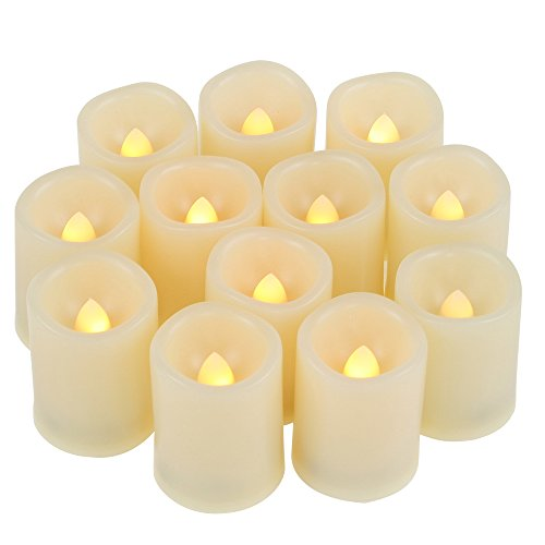 12 Battery Operated Flameless LED Votive Candles with Timer Realistic Flickering Electric Tea Lights Set Bulk Baptism Wedding Party Decoration Kitchen Home Decor Table Centerpieces Batteries Included