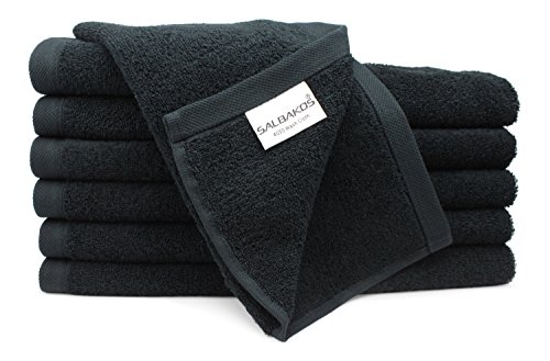 SALBAKOS Luxury Hotel & Spa Turkish Cotton 12-Piece Eco-Friendly Washcloth Set for Bath, Black (Egyptian Towels Cotton Black)