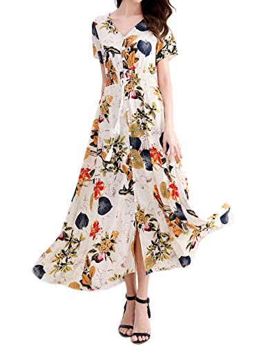 (Ladies Dresses Short Sleeve Casual Petite Cute Floral Maxi Party Dress Yellow)