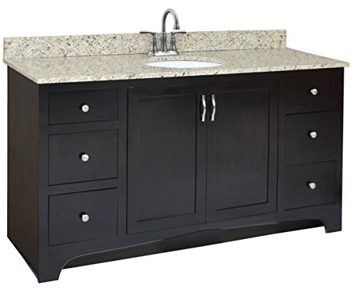 (Design House 541433 Ventura 2 Door/4 Drawer Ready-To-Assemble Vanity, Espresso, 60-Inch by 21-Inch)