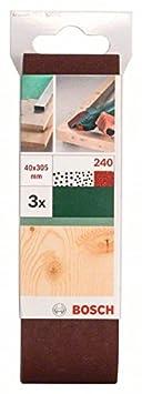 Bosch 2609256182 Set de 3 rubans abrasifs pour Ponceuse /à ruban 40 x 303 mm Grain 60