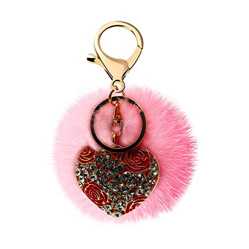 Shaped Ball Keychain - Uloveido Red Enamel Heart Shaped Gold Keychain with Pink Rabbit Hair Fluffy Fur Ball Bag Charm Car Circle Key Rings Gift Bag Hanging Buckle YS849 (Pink Fur Ball+Red Heart)
