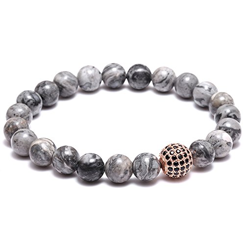Joya Gift Natural Stone Bead Bracelet CZ Charm with crystal - Fashion Jewelry for Men and Women