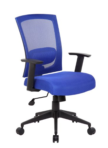 Adjustable High-Back Mesh Office Chair with Arms, Blue