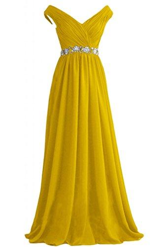 ballo da Sunvary di abito eleganti formale Poretrait A sera Yellow Line Neckline Sweep V wPgB8qWw