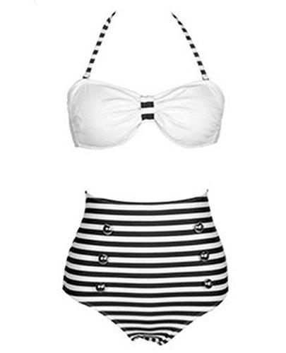 Y&L De Las Mujeres De Talle Alto, Bikini Establece Las Niñas De La Raya De Trajes De Baño Bandeau De Trajes De Baño Halter Raya negra