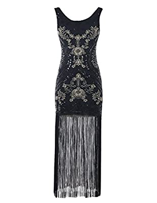 Emust Women's Vintage 1920s Gatsby Sequins Embroidery Tassel Long Flapper Dress