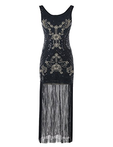 Emust Women's Vintage 1920s Gatsby Sequins Embroidery Tassel Long Flapper Dress Prom Party Black Size (Gatsby Dresses For Sale)