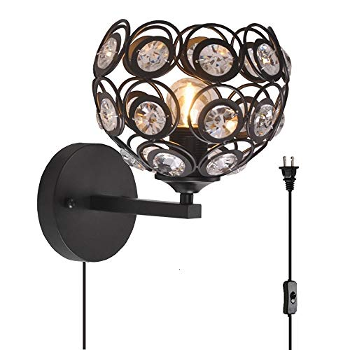 (Surpars House Plug in Wall Lamp Crystal Wall Light with On/Off Switch in Line,Cord Length 70