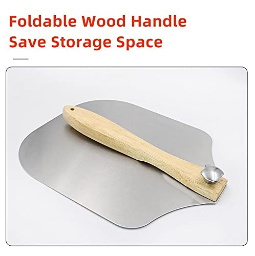 Metal Aluminum Pizza Peel Wooden Handle - 12 inch x 14 inch Pizza Paddle with Foldable Wood Handle Grill Oven Accessories Pastry Dough Bread Turner,Homemade Baking Cake Spatula