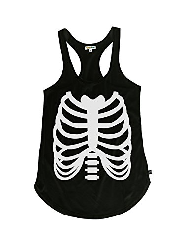 Tipsy Elves Women's Skeleton Halloween Costume Shirt - Skeleton Tank Top: Medium Black