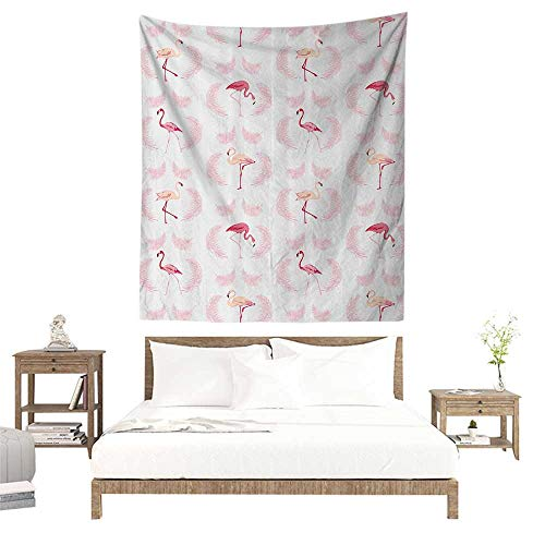 alisoso Tapestries for Sale,Flamingo Decor Collection,Flamingos Walking Eating Standing Pattern with Flying Feathers Illustration Art,Crimson P W51 x L60 inch Wall Decoration Tapestry Beach Mat]()
