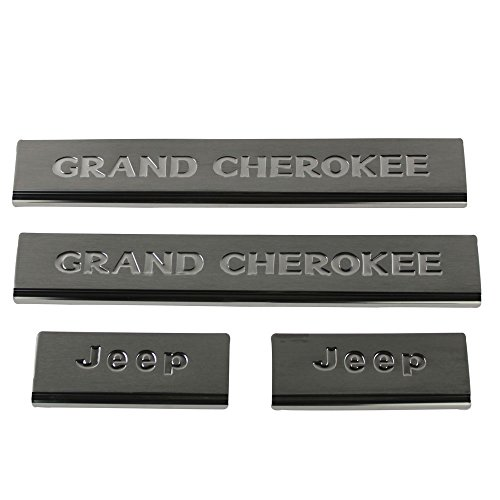 Rear Door Sill (Safaripal Door Front Rear Sill Protectors Guards Plates 4 Pieces Set For 2011 2012 2013 2014 2015 Jeep Grand Cherokee (Stainless Steel)