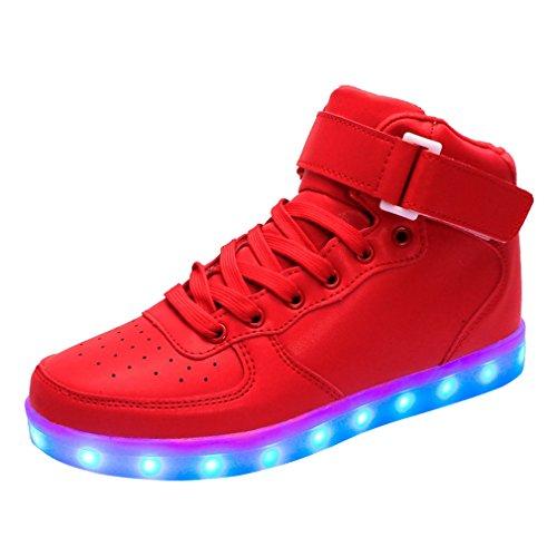 Bininbox Liefhebbers Unisex Usb Charging Led 7 Kleuren Verlichting Schoenen Knipperende Sneaker Rood