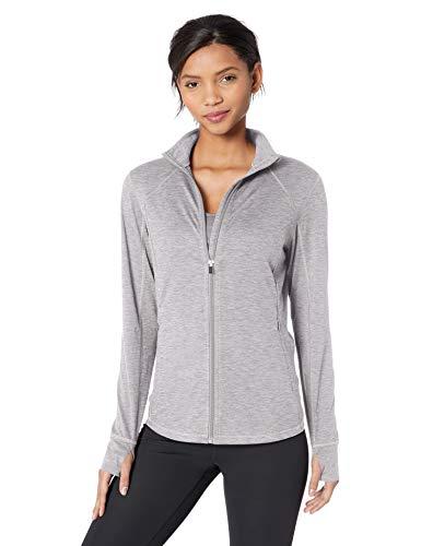Amazon Essentials Women's Brushed Tech Stretch Full-Zip Jacket, Grey Space dye, Medium - Full Zip Sweater Jacket