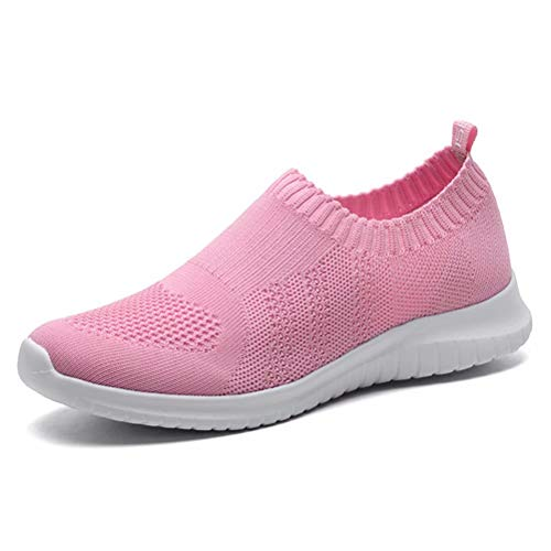 - KONHILL Women's Lightweight Casual Walking Athletic Shoes Breathable Mesh Running Slip-On Sneakers, Pink, 38