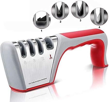 TATAFUN Afilador de Cuchillos Profesional, Amoladora De Cocina Kit 4 en 1 Knife Sharpener, Base de Acero Inoxidable Antideslizante para Knife de Cocina, Apto para Uso en Cocina y Exterior (Rojo)