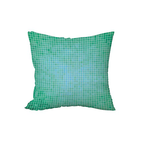 iPrint Polyester Throw Pillow Cushion,Teal Decor,Square Pixel Mosaic Pattern Simple Modern Contemporary Decorative Illustration Print,Green,15.7x15.7Inches,for Sofa Bedroom Car -