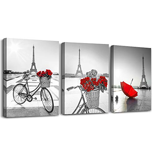 red Flowers 3 Piece Canvas Print Wall Art for Living Room Bathroom Decorations Bedroom Wall decor modern Eiffel Tower umbrella Office Home Decoration wall paintings Black and white bicycle landscape (Wall For Modern Room Living Decor)
