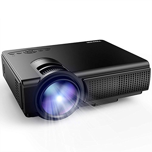 Projector, TENKER Q5 LED Mini Movie Projector Support 1080P HDMI USB TF VGA AV, Multimedia Home Theater LCD Video Projector, Black by TENKER