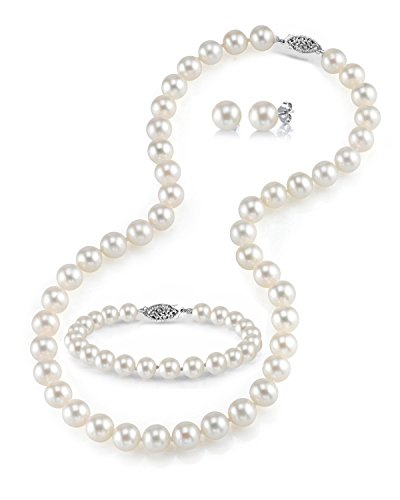 (THE PEARL SOURCE 14K Gold 7-8mm Round White Freshwater Cultured Pearl Necklace, Bracelet & Earrings Set in 18