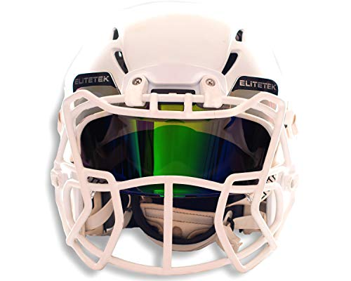 EliteTek Color Football & Lacrosse Eye-Shield Facemask Visor - Fits Youth & Adult Helmets (Dark Green Smoked)