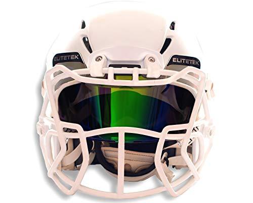 (EliteTek Color Football & Lacrosse Eye-Shield Facemask Visor - Fits Youth & Adult Helmets (Dark Green Smoked))