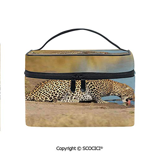 (Printed Portable Travel Makeup Cosmetic Bag Leopard Panther Drinking at Waterhole Safari Wild South African Animal Documentary Print Durable storage bag for Women Girls)
