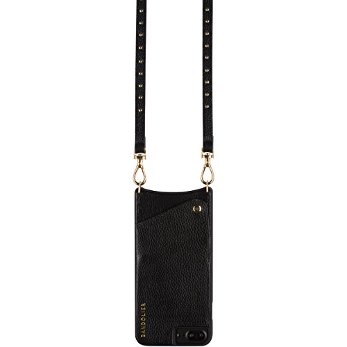 Phone Case For iPhone 8, 7 & 6 - GOLD Mini Metal Studs & Luxury Black Genuine Leather Phone Wallet for Cards & Cash. Cell Crossbody Detachable Strap. Carry Mobile Handsfree. Natalie By Bandolier by Bandolier (Image #3)