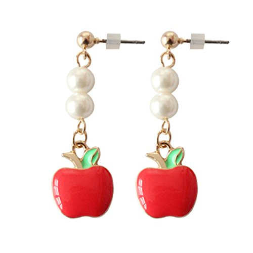 18k Tone Two Earrings (18K Gold Plated Two-Tone 2 Imitation Pearls With Red Apple Charm Long Tassel Drop Earrings)