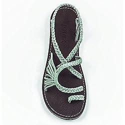 Flat Summer Sandals for Women by Plaka Sage Green 8 Palm Leaf