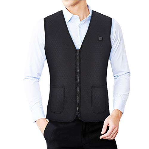 Heated Vest,Carbon Fiber Electric Heating Vest Men Women Warm Heated Business Jacket Sleeveless Waist Heating Casual Coats for Outdoor Camping,Cycling Skiing,XXXL