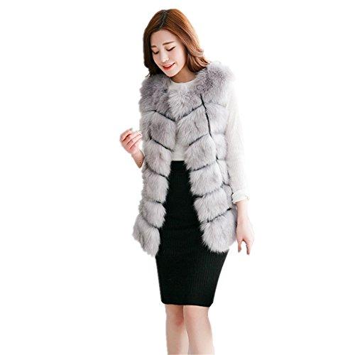 D-cool Women's Gilet Outwear Long Slim Vest Faux Fox Fur Waistcoat Jacket (4XL, Silver) - Faux Fur Vest