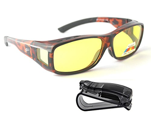 Fit Over Night Vision Glasses Polarized to Wear Over Glasses + car clip - Go Glasses That Sunglasses Over Regular