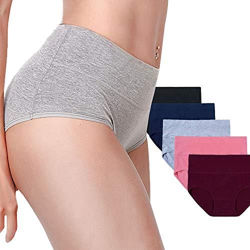 Timpom Women's Cotton Underwear Panties,Girls Soft Breathable Underwear Women, Mid-High Waist Comfort Hipster Briefs 5 Pack