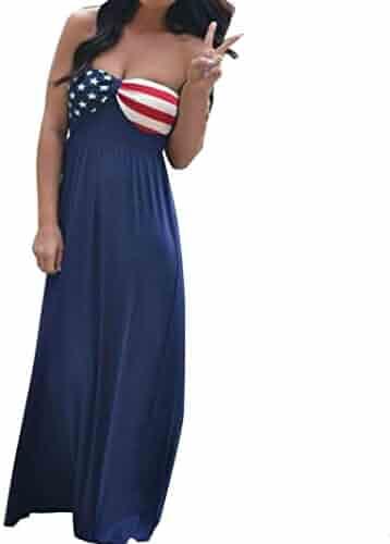c21b75345b Vovotrade Women American Flag Printed Sleeveless Boho Long Maxi Evening  Beach Dress