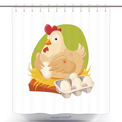 Stylish Shower Curtains Chicken Nesting Laying Fresh Eggs Farm And Farming Related Illustration In Bright Cartoon Style 557190055 Polyester Bathroom Shower Curtain Set With Hooks - Farm Related Costumes