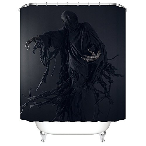 [Halloween Night Theme Terrible Demon Shower Curtain Polyester Fabric Mildew Proof Waterproof Cloth Shower Room Decor Shower] (Mounted Animal Head Costume)