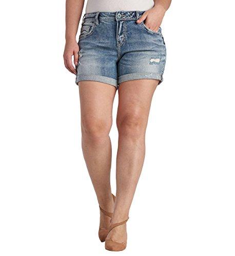 - Silver Jeans Women's Plus Size Ladies Sam Boyfriend-fit Short, Medium Light Wash, 24