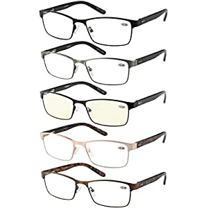 Eyecedar 5-Pack Reading Glasses Men Rectangle Frame Metal Spring Hinges Stainless Steel Material Includes Cloth Pouch And Computer Readers 1.00