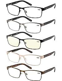 5-Pack Reading Glasses Men Rectangle Frame Metal Spring...