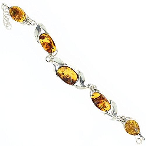 Bijoux Irina - Bracelet Feuilles en Argent & Ambre Cognac
