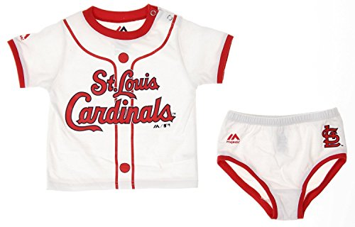 - Majestic MLB St. Louis Cardinals Infants Baby Boy Player Tee & Bottom Set, White (18 M.