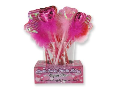 Set of Six Valentine's Sequin HEART Pens ~ 6 Assorted Novelty Furry Love Pens ~ Fun Party Favor Birthday Secret Valentine Christmas Holidays EASTER SPRING ~ Adorable Love Gift ~ LOVE GIFT NEW ~
