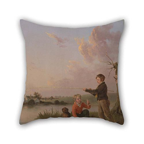 Anglers Sheet Protector (Oil Painting Edmund Bristow - The Young Anglers Throw Pillow Covers 18 X 18 Inches / 45 By 45 Cm Best Choice For Wife Kitchen Monther Floor Dining Room Couples With Two Sides)